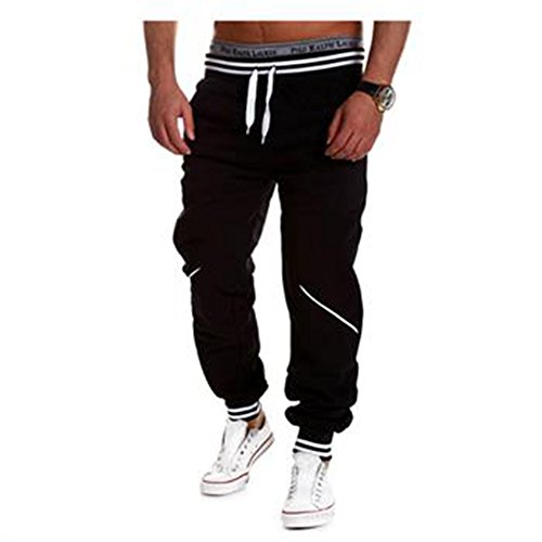 "Fashion Story Men Harem Casual Baggy HipHop Dance Sport Sweat Pants Trousers (Black, Waist28.35"")"