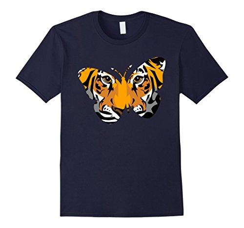 Mens Butterfly Tiger gift t shirts, lion butter fly cute tigress 2XL Navy