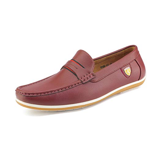 Bruno Marc Men's BUSH-01 Burgundy Driving Loafers Moccasins Shoes - 7 M US