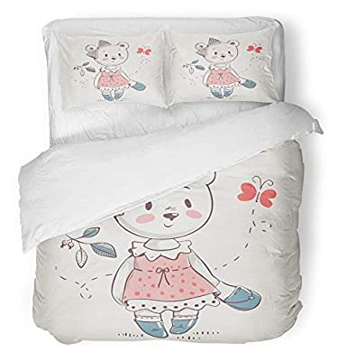 Emvency 3 Piece Duvet Cover Set Breathable Brushed Microfiber Fabric Kid Cute Little Bear Girl in Dress Cartoon Baby Celebration Greeting and Doodle Bedding Set with 2 Pillow Covers Twin Size