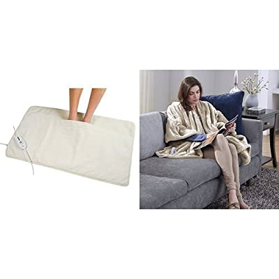 Serta Ultra Plush Triple Rib Electric Heated Foot Warmer, Natural and Serta Snuggler Electric Heated Cape/Throw Blanket, Sand