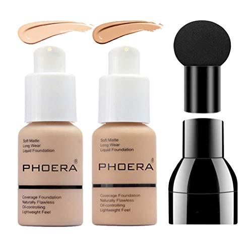 PHOERA Foundation Makeup Set, Firstfly Matte Oil Control Concealer Foundation Cream, Long Lasting Waterproof Matte…