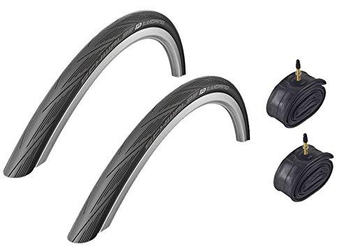 Schwalbe Lugano BLACK 700 x 25c Kevlar Active Line Road Bike Tyres & Inner...