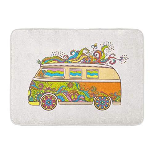 Doormats Bath Rugs Outdoor/Indoor Door Mat Hippie Vintage Car Mini Van Love and Music Fonts Doodle Hippy Color Retro 1960S 60S 70S Woodstock Fair Bathroom Decor Rug 16