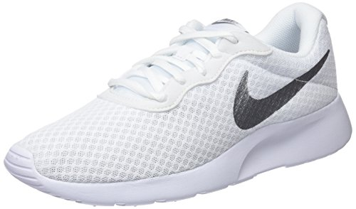 NIKE Tanjun Women Running Shoes White/Metallic Sliver (8.5, White/Metallic Silver)