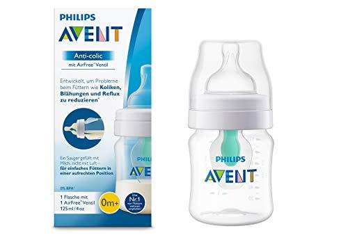 Philips Avent Anti-colic fles met AirFree™-ventiel – 125 ml – 0m+ – Speen voor pasgeboren baby's – Vermindert krampjes…