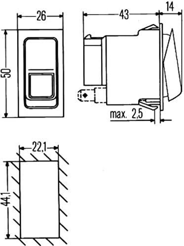 Hella 6gm 007 832 261 Schalter Wippbetätigung Anschlussanzahl 6 Ohne Komfortfunktion Auto