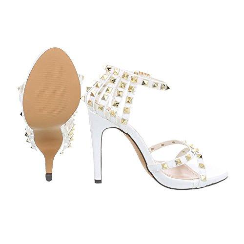 Ital-Design Women's Sandals Block Heel Strappy Sandals at White Ll-69p l9rIdthMh