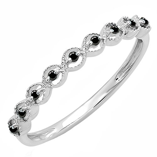 (Dazzlingrock Collection 0.10 Carat (ctw) Sterling Silver Black Diamond Ladies Wedding Stackable Band 1/10 CT, Size 7)
