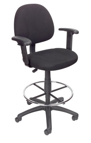 Boss Office Products B1616-BK Ergonomic Works Drafting Chair with Adjustable Arms in Black - High Back Drafting Stools