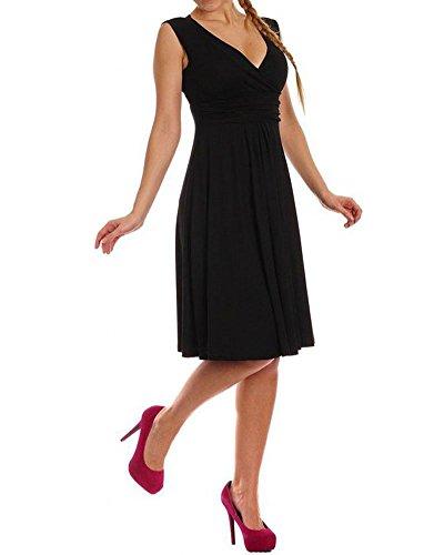 YipGrace Mujeres Con Encanto Cuello En V Color Del Caramelo Mangas Delgado Plisado Mini Vestido Negro