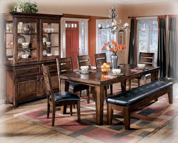 Ashley Furniture Signature Design – Larchmont Dining Room Table – Old World Style – Burnished Dark Brown