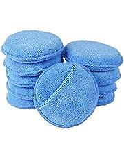 Sysow Microvezel-polijstspons, set van 10, ultra zachte microvezel wax applicator pads met vingerzakken, autowaxapplicator schuimspons (blauw, 4,72 inch diameter, verpakking van 10 stuks)