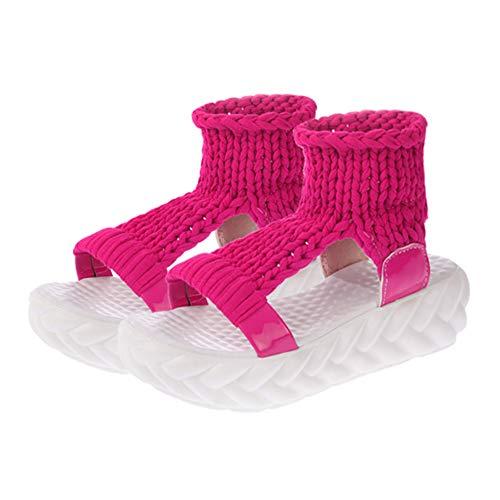 Open Ciabatte Casuale Sandals Moda Scarpe Knit Huatime Ragazze Estate Rosa Spesso Fondo Zeppa Rossa Toe Sandalo Eleganti Cavo Platform Donna Sandali Cloth q8Hf0t