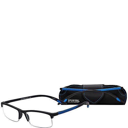 Sportex Readers Rectangular Reading Glasses Men's Semi-Rim, Blue, 1.50