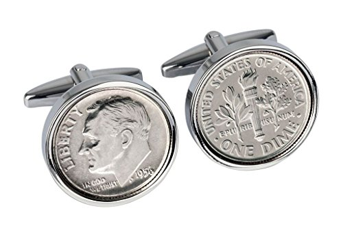 1956 Mint US Coin Cufflink Set - 62nd Birthday - (Genuine Cufflinks)