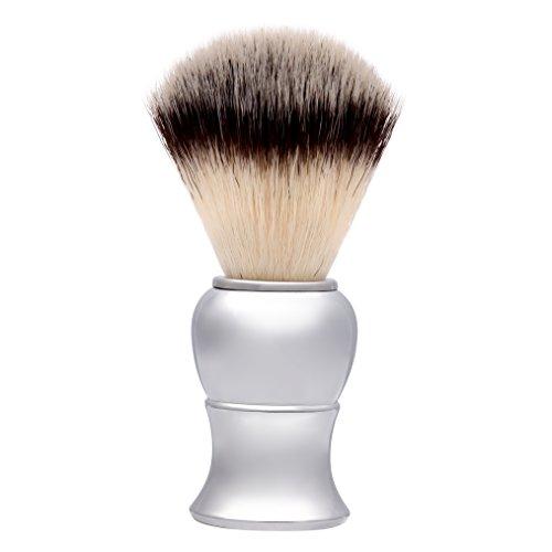 Shaving Brush, QSH Synthetic Brush Hair Knot with Pure Silver Engineered Imported Acrylic Handle Shaving Brush for Safety Razor, Double Edge Razor, Shaving Razor