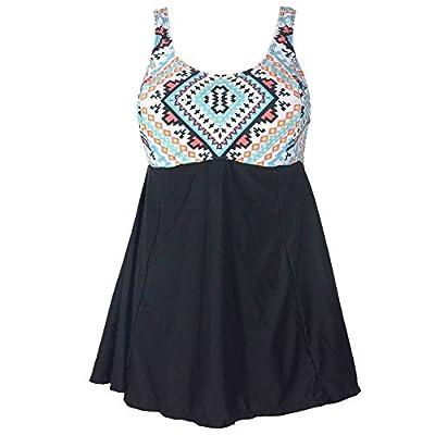 PZZ Geometric Print Plus Size Black Bathing Dress Push Up Swimsuit(FBA)