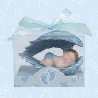 36 Baby Shower Baby Blue Boy Angel Wing Favors in Box Favors Gift Keepsake Favor