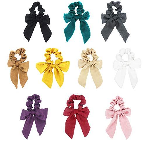 Pack of 10pcs Bow Hair Tie Scrunchie Elastic Hair Types Bow Hair Ropes Hair Ties Women Hair Accessories