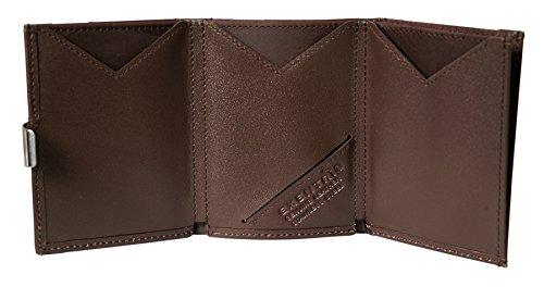 Exentri de cuero genuino monedero tarjeta de crédito marrón