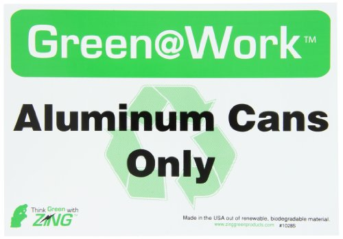 ZING 1028S Eco Label, Recycle Recycled Aluminum Cans, Recycled Polystyrene Self Adhesive, 7Hx10W, (Plastic Recycling Tilt Truck)