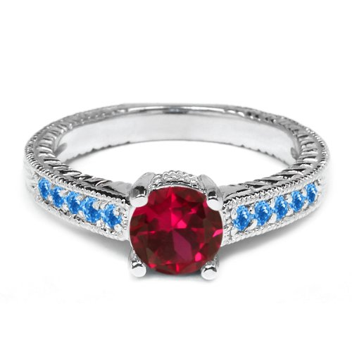 120-Ct-Red-Created-Ruby-and-Swiss-Blue-Simulated-Topaz-925-Sterling-Silver-Ring