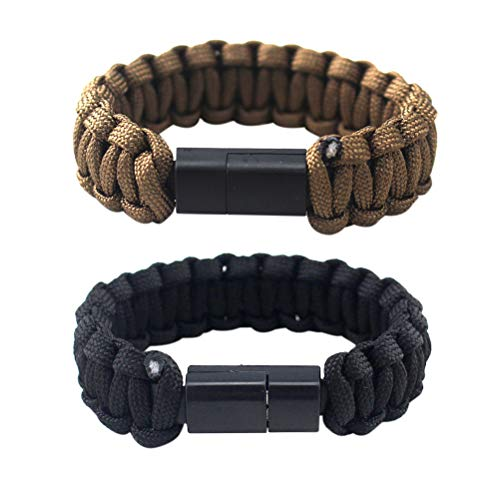 Hemobllo 2Pcs Type-C Data Cable with Bracelet Design Durable Braided Charging Wrist Band (Black and Brown)
