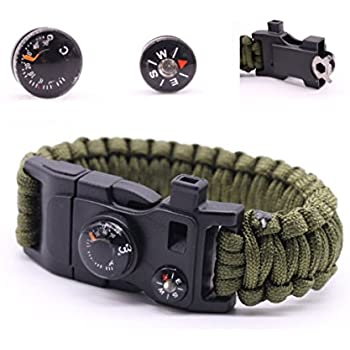 Military Outdoor Paracord Survival Bracelet 500 LB - Hiking Travelling Camping Gear Kit - 12-in-1 Parachute Rope Bracelet, Compass, Thermometer, Whistle, Screwdriver, Scrapper, Wrench, Bottle Opener