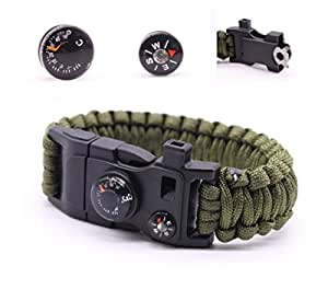 Camping Paracord Survival Bracelet Kit 500 LB - Outdoor Hiking Travelling Hunting Gear - 12-in-1 Emergency Tactical Parachute Rope Bracelet - Compass, Thermometer, Whistle, Knife, Fire Starter - Army
