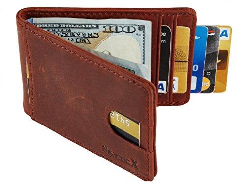 - SimpacX RFID Blocking Bifold Slim Genuine Leather Thin Minimalist Front Pocket Wallets for Men Money Clip Full Grain Leather (crazy horse reddish brown)