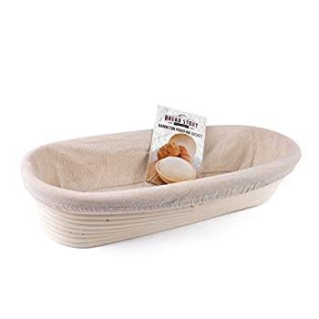 (14x6 inch) Oval Proofing Basket Set by Bread Story– Oval Banneton/Brotform Handmade Unbleached Natural Cane Bread Baking Kit with Cloth Liner - Course Discount, & Coupon