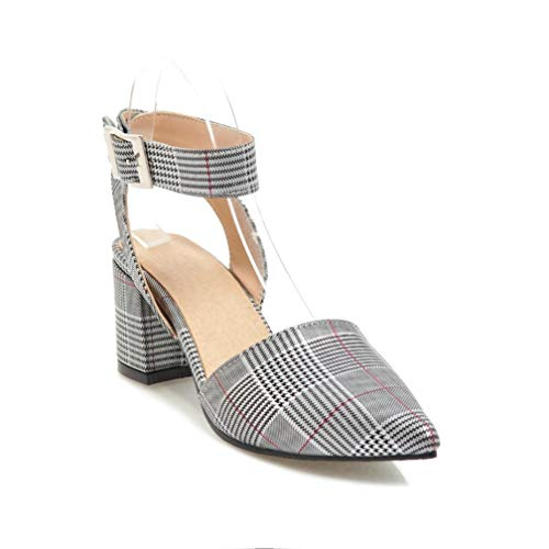 (Women's Mid Block Heel Plaid Sandals Pointed Toe Buckle Chunky Heel Office Ankle Strap Dress Sandal Silver )