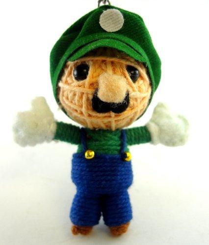 1 X Luigi Voodoo String Doll Key Chain Handmade Mario Bro...
