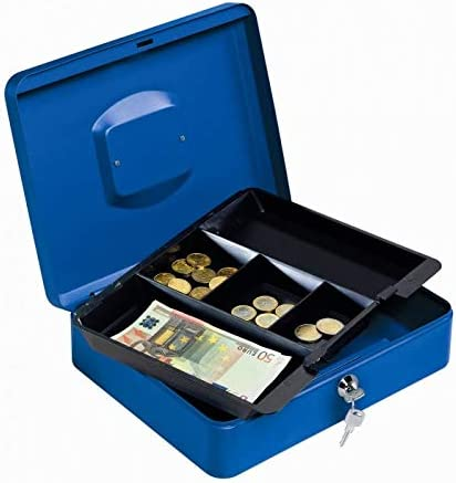 Lebez 065-BL caja para dinero en efectivo - cajas para dinero en efectivo (Negro, Azul, 300 x 240 x 90 mm): Amazon.es: Oficina y papelería