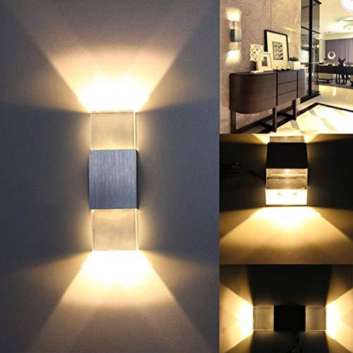 (LED Square Wall Lamp Bedroom Hotel Bedside Aluminum Crystal Brushed Acrylic Brick Head Warm Light 5.52.317.6CM)