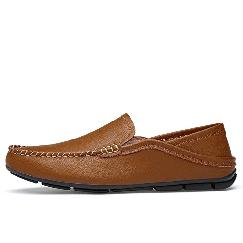 para tamaño Mocasines shoes Respirables para refrescantes 38 Forrados Color de Mocasines Genuino Hollow Brown EU Xiazhi Ligeros Cuero y Hombre dqITwq5