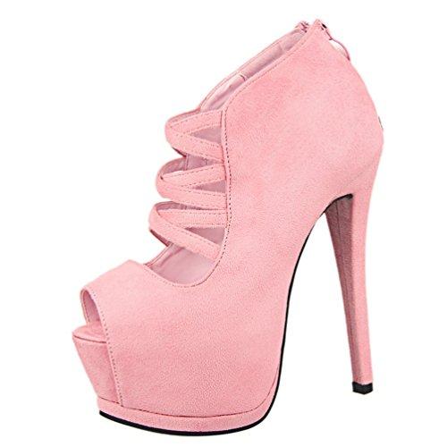 Strap Femmes Peep HooH Cross Toe Sandales Rose Platform qSwIgxdnI