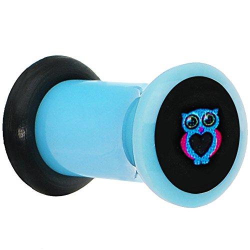 Body Candy 0 Gauge Blue Acrylic Heart Owl Single Flare Ear Gauge Plug (1 Piece)