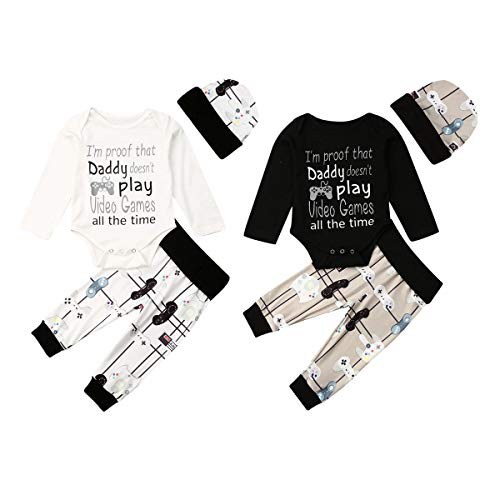 Newborn Infant Baby Boys Girls Cute Long Sleeve Romper Outfits Letter Printing top+Pants+Hat Autumn Winter 3Pcs Set Clothes (6-9 Months, Letter Romper Black)