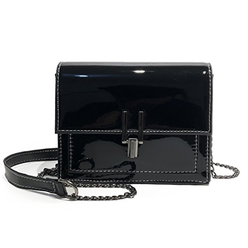 LXC Womens Bag Patent Leather Mirror Bright Shoulder Bag Crossbody Bag for Women (Black)