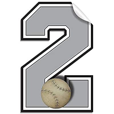 Wall Number 2 Baseball Jersey Numbers Varsity Uniform Vinyl Sticker Decals Childrens Room Decor Baby Nursery Boys Sport Bedroom Team Stickers Kids Sports Decorations Balls Decal Mural Girls: Arts, Crafts & Sewing
