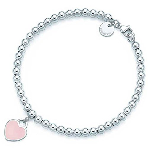SILVERLIGHT Pink Heart Tag Beads Bracelet with Enamel - And Pink Co Tiffany