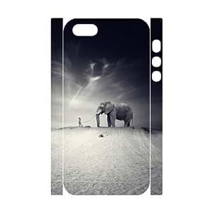 LZHCASE Diy Customized Case Elephant 3D Case for iPhone 5,5S [Pattern-1]