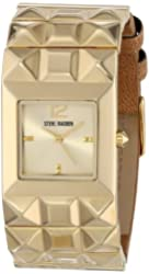 Steve Madden Women's SMW00057-02 Brown Faux Leather and Gold Pyramid Strap Watch