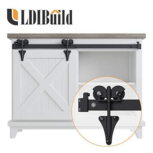 LD BUILD 3ft Mini Sliding Barn Door Hardware Kit, Unique Design Hanger | Easy Installation | Quality Roller | Perfect for Cabinets, TV Stands| for 18