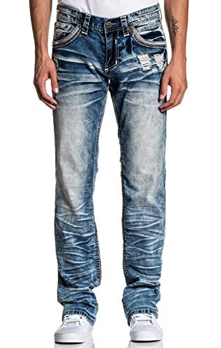 Affliction Blake Fleur Ruston Relaxed Straight Leg Cut Fashion Denim Jeans Pants for Men