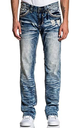 Affliction Blake Fleur Ruston Relaxed Straight Leg Cut Fashion Denim Jeans Pants for Men