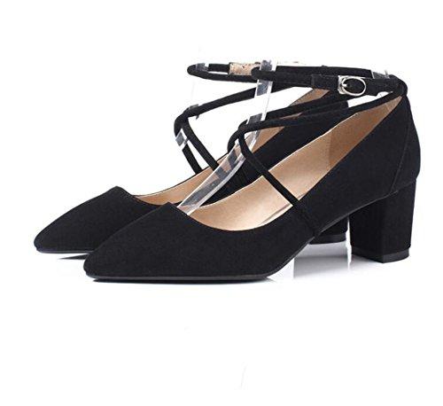 XZGC Zapatos de Mujer de Primavera Las Tiras Transversales Gruesas con Señaló Zapatos de Tacón Negro
