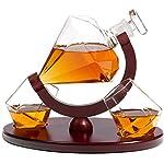 Whiskey Decanter Diamond Shape with 2 Elegant Matching Glasses Mahogany Wooden Tray – Beverage Serveware Dispenser for Spirits, Liquor, Scotch and Cocktails – Impressive Bar Set